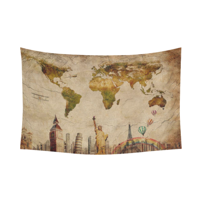 InterestPrint Globe Decor, Vintage Retro World Map and Statue of Liberty Cotton Linen Tapestry Wall Hanging Art Sets