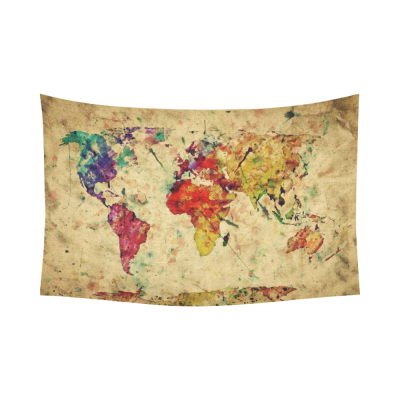 InterestPrint Earth Map Wall Art Home Decor, Vintage Retro World Map Cotton Linen Tapestry Wall Hanging Art Sets