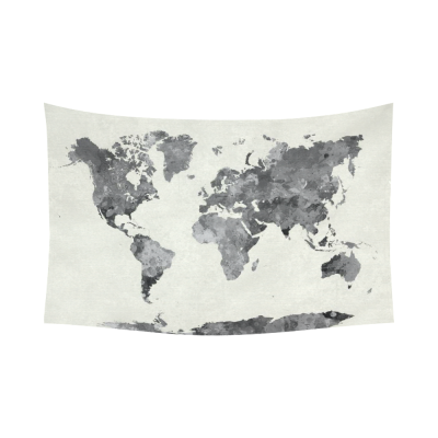 InterestPrint Abstract Splatter Wall Art Home Decor, World Map in Watercolor Painting Gray Cotton Linen Tapestry Wall Hanging Art Sets