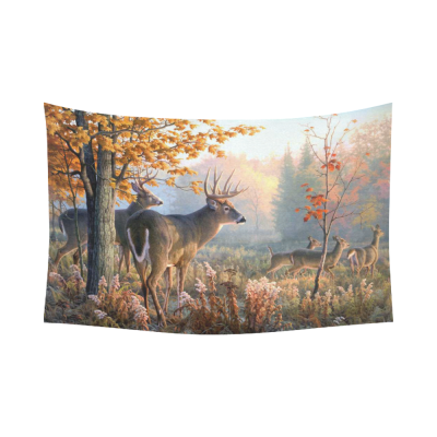 InterestPrint Animal Wall Art Home Decor, Wildlife Deer in Autumn Fall Forest Cotton Linen Tapestry Wall Hanging Art Sets