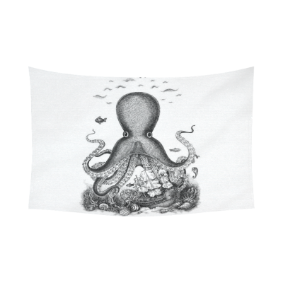 InterestPrint Black and White Fantasy Octopus Cotton Linen Tapestry Home Decor Wall Hanging Art Sets
