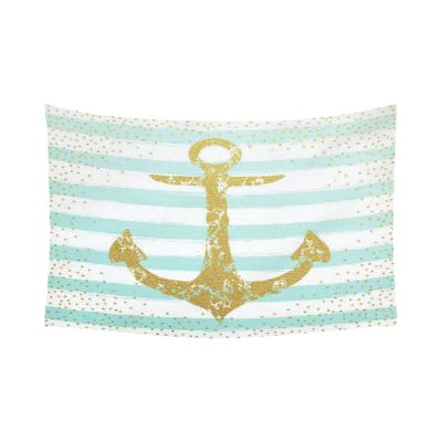 InterestPrint Nautical Anchor Gold Home Decor Wall Art, Mint Green Stripes Cotton Linen Tapestry Wall Hanging Art Sets