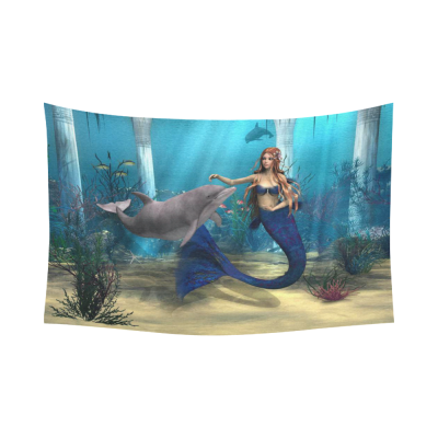 InterestPrint Fantasy Blue Ocean Home Decor Wall Art, a Cute Mermaid and Dolphin Cotton Linen Tapestry Wall Hanging Art Sets