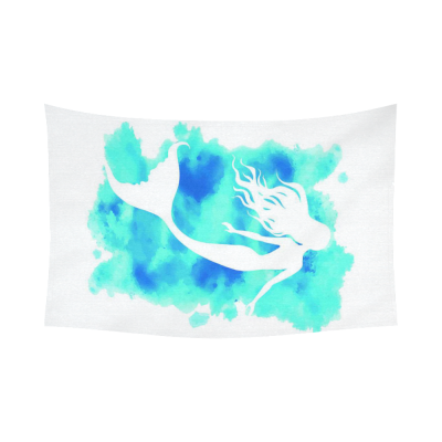 InterestPrint Watercolor Art Mermaid Cotton Linen Tapestry Home Decor Wall Hanging Art Sets