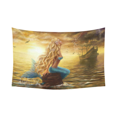 InterestPrint Sunset on Sea Home Decor Wall Art, Beautiful Princess Mermaid with Ghost Ship Cotton Linen Tapestry Wall Hanging Art Sets