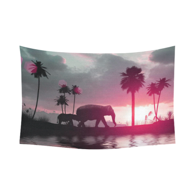 InterestPrint Summer Tropical  Home Decor Wall Art, Elephants  Family Sunset Palms Tree Cotton Linen Tapestry Wall Hanging Art Sets