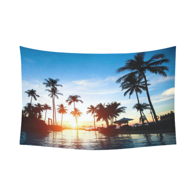 InterestPrint Beautiful Sunset Landscape Home Decor Wall Art, Tropical Beach Tree Cotton Linen Tapestry Wall Hanging Art Sets