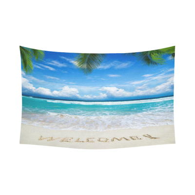 InterestPrint Tropical Island Palm Trees Home Decor Wall Art, Welcome Written in a Sandy Beach Cotton Linen Tapestry Wall Hanging Art Sets