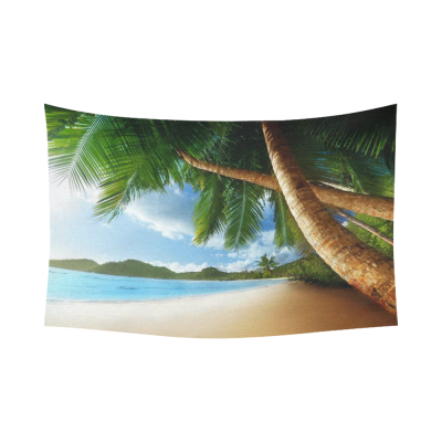 InterestPrint Summer Beach Tropical Palm Trees Home Decor Wall Art, Sunset on Beach Seychelles Cotton Linen Tapestry Wall Hanging Art Sets
