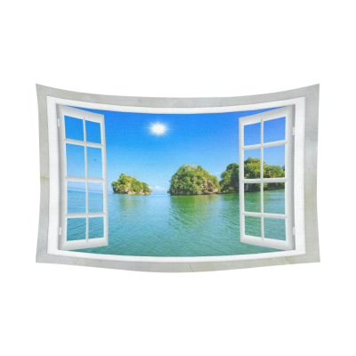 InterestPrint Tropical Seascape Tapestry, Ocean View from the Window on the Island of Sunny Cotton Linen Tapestry  Home Decor Wall Hanging Art Sets