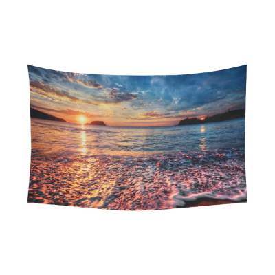 InterestPrint Colorful Seaside Beach Decor Collection, Beautiful Sunrise Cotton Linen Home Tapestry Wall Hanging Art Sets