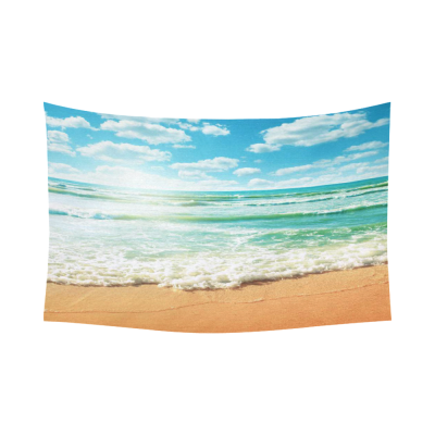 InterestPrint Sea Wave Decor Collection, Coast of Beach at Sunny Day Cotton Linen Tapestry Wall Hanging Art Sets