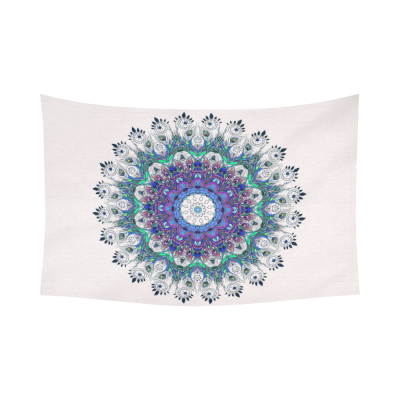 InterestPrint Hippie Indian Mandala Home Decor Wall Art, Bright Pattern with Peacock Cotton Linen Tapestry Wall Hanging Art Sets