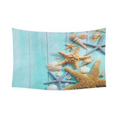 InterestPrint Starfish and Seashells over Wooden Background Home Decor Wall Art, Bule Stripe Cotton Linen Tapestry Wall Hanging Art Sets
