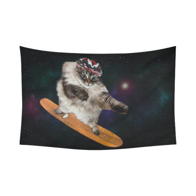 InterestPrint Funny Animals Home Decor Wall Art,  Galaxy Space Skateboard Cat Cotton Linen Tapestry Wall Hanging Art Sets