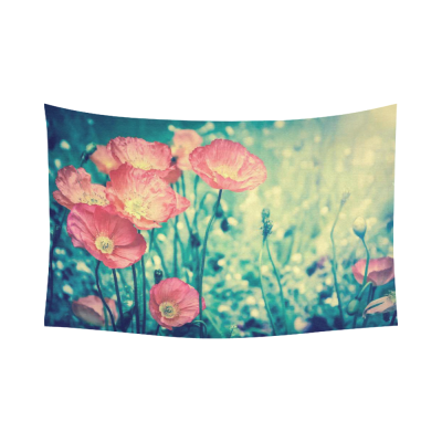 InterestPrint Red Poppy Flower Home Decor Wall Art, Romantic Floral Pattern Sunset Sky Cotton Linen Tapestry Wall Hanging Art Sets