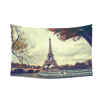 InterestPrint Paris Eiffel Tower Home Decor Wall Art, Paris Landmark City of Love Maple Tree Leaves Cotton Linen Tapestry Wall Hanging Art Sets