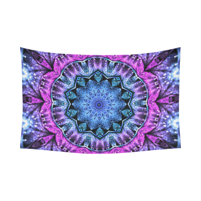 InterestPrint Floral Art Wall Decor, Glossy Blue and Purple Fractal Mandala Cotton Linen Tapestry Wall Hanging Art Sets
