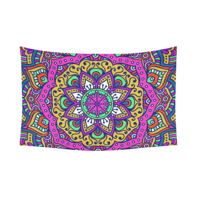 InterestPrint Psychedelic Home Decor Wall Art, Large Indian Mandala Cotton Linen Tapestry Wall Hanging Art Sets