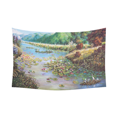 InterestPrint Original Oil Painting Wall Art Home Decor, Landscape of Lotus Cotton Linen Tapestry Wall Hanging Art Sets