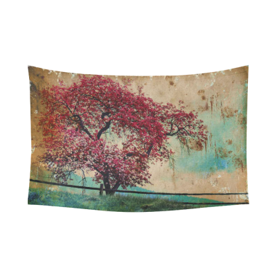 InterestPrint Oil Painting Wall Art Home Decor, Blossom Tree Beautiful Spring Background Cotton Linen Tapestry Wall Hanging Art Sets