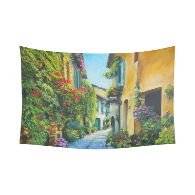 InterestPrint Art Oil-Painting Wall Home Decor, Flower Street in Italy Cotton Linen Tapestry Wall Hanging Art Sets