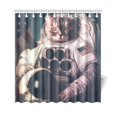 InterestPrint Universe Galaxy Space Hipster Astronaut Cat Home Decor Polyester Fabric Shower Curtain Bathroom Sets