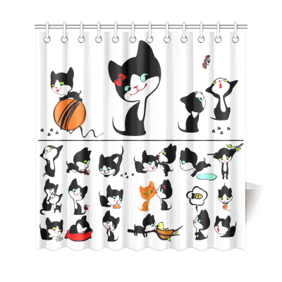 InterestPrint Collection Cute Cats Group Home Decor,Garden Cartoon Kitten Polyester Fabric Shower Curtain Bathroom Sets