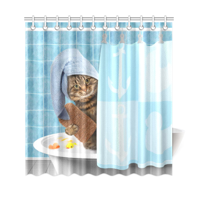 InterestPrint Funny Bathing Cat Home Decor,Cute Animals Polyester Fabric Shower Curtain Bathroom Sets
