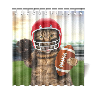 InterestPrint Fnny Animals Home DecorSports American Football Funny Cat Polyester Fabric Shower Curtain Bathroom