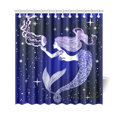 InterestPrint Starry Night Beautiful Sea Mermaid Home Decor, Tropical Animal Jellyfish Polyester Fabric Shower Curtain Bathroom Sets with Hooks