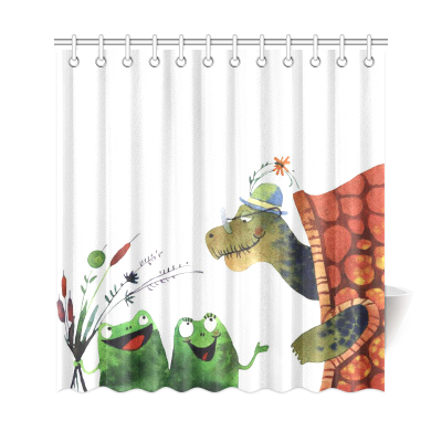 InterestPrint Funny Animals  Home Decor, Sea Turtle Frogs Polyester Fabric Shower Curtain Bathroom Sets with Hooks