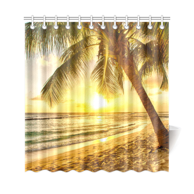 InterestPrint Sunset Landscape Nautical Beach Home Decor, Tropical Palm Tree Polyester Fabric Shower Curtain Bathroom Sets with Hooks