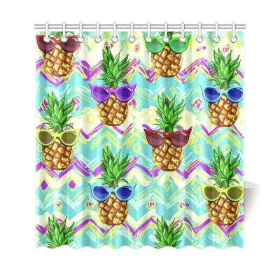 InterestPrint Hipster Pineapples Home Decor, Tropical Flower Fruit Polyester Fabric Shower Curtain Bathroom Sets with Hooks