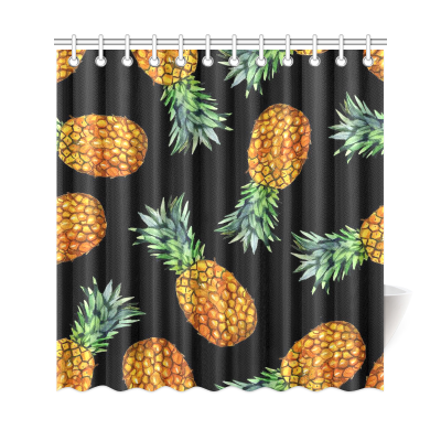 InterestPrint Tropical Flower Fruit Home Decor, Pineapples Polyester Fabric Shower Curtain Bathroom Sets with Hooks