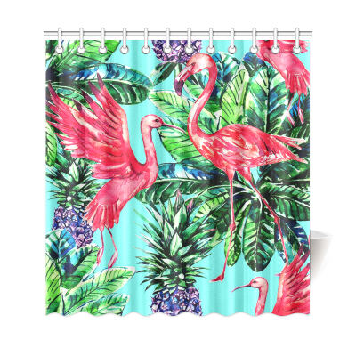 InterestPrint Pink Flamingo Bird Palm Leaves Home Decor, Tropical Fruits Pineapples Polyester Fabric Shower Curtain Bathroom Sets with Hooks