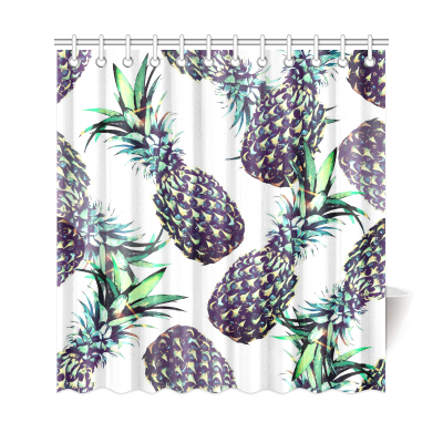 InterestPrint Pineapples Floral Home Decor, Tropical Fruits Polyester Fabric Shower Curtain Bathroom Sets with Hooks