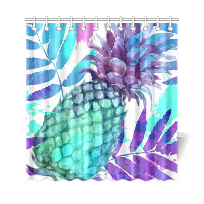InterestPrint Tropical Fruit Home Decor, Vintage Pineapples Polyester Fabric Shower Curtain Bathroom Sets with Hooks