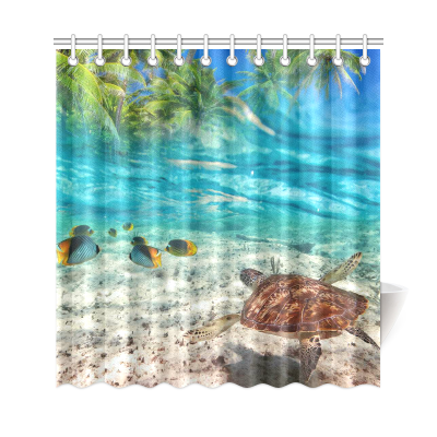 InterestPrint Tropical Palm Tree Fish Home Decor, Ocean Underwater World Sea Turtle Polyester Fabric Shower Curtain Bathroom Sets with Hooks