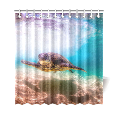 InterestPrint Green Sea Turtle Home Decor, Deep Ocean Underwater World Polyester Fabric Shower Curtain Bathroom Sets with Hooks