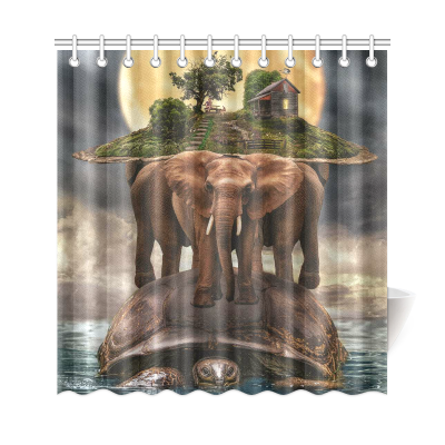 InterestPrint African Animal Elephants Home Decor, Full Moon Night Sea Turtle Polyester Fabric Shower Curtain Bathroom Sets with Hooks