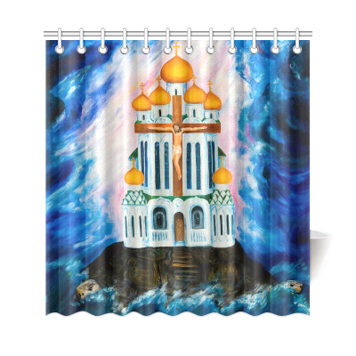 InterestPrint Sea Turtle Home Decor, the Orthodox Church Polyester Fabric Shower Curtain Bathroom Sets with Hooks