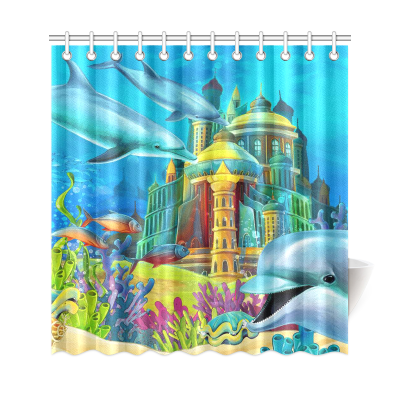 InterestPrint Sea Dolphins Home Decor, the Underwater Castle Polyester Fabric Shower Curtain Bathroom Sets with Hooks