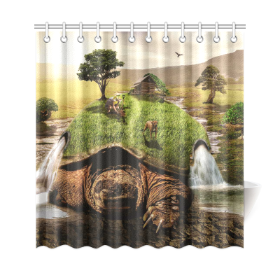 InterestPrint Green Turtle Home Decor, Sunset Tree Waterfall Landscape Polyester Fabric Shower Curtain Bathroom Sets with Hooks