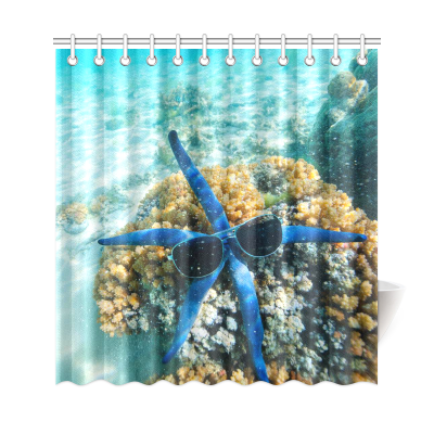 InterestPrint Blue Hipster Seall Starfish Home Decor, Underwater Seascape Polyester Fabric Shower Curtain Bathroom Sets with Hooks