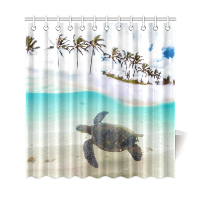 InterestPrint Tropical Sand Beach Palm Tree Home Decor, Underwater Sea Turtle Polyester Fabric Shower Curtain Bathroom Sets with Hooks