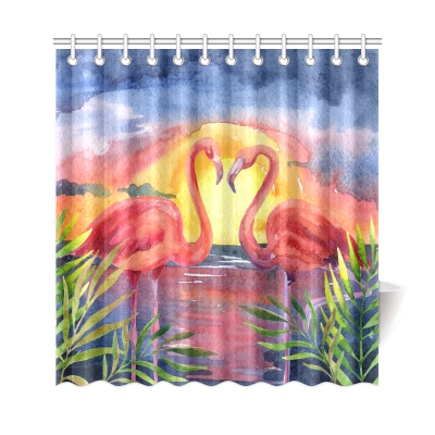 InterestPrint Tropical Sea Beach Palm Tree Home Decor, Sunset Pink Flamingo Polyester Fabric Shower Curtain Bathroom Sets with Hooks