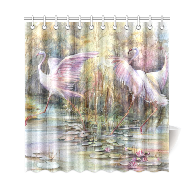InterestPrint Hand Drawn Sketch with Vintage Flamingo Home Decor Polyester Fabric Shower Curtain Bathroom Sets with Hooks