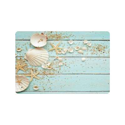 InterestPrint Blue Anti-slip Door Mat Home Decor, Seashells Starfish Indoor Outdoor Entrance Doormat Rubber Backing