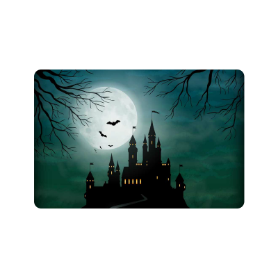 InterestPrint Fantasy Castle Anti-slip Door Mat Home Decor, Full Moon Night Indoor Outdoor Entrance Doormat Rubber Backing